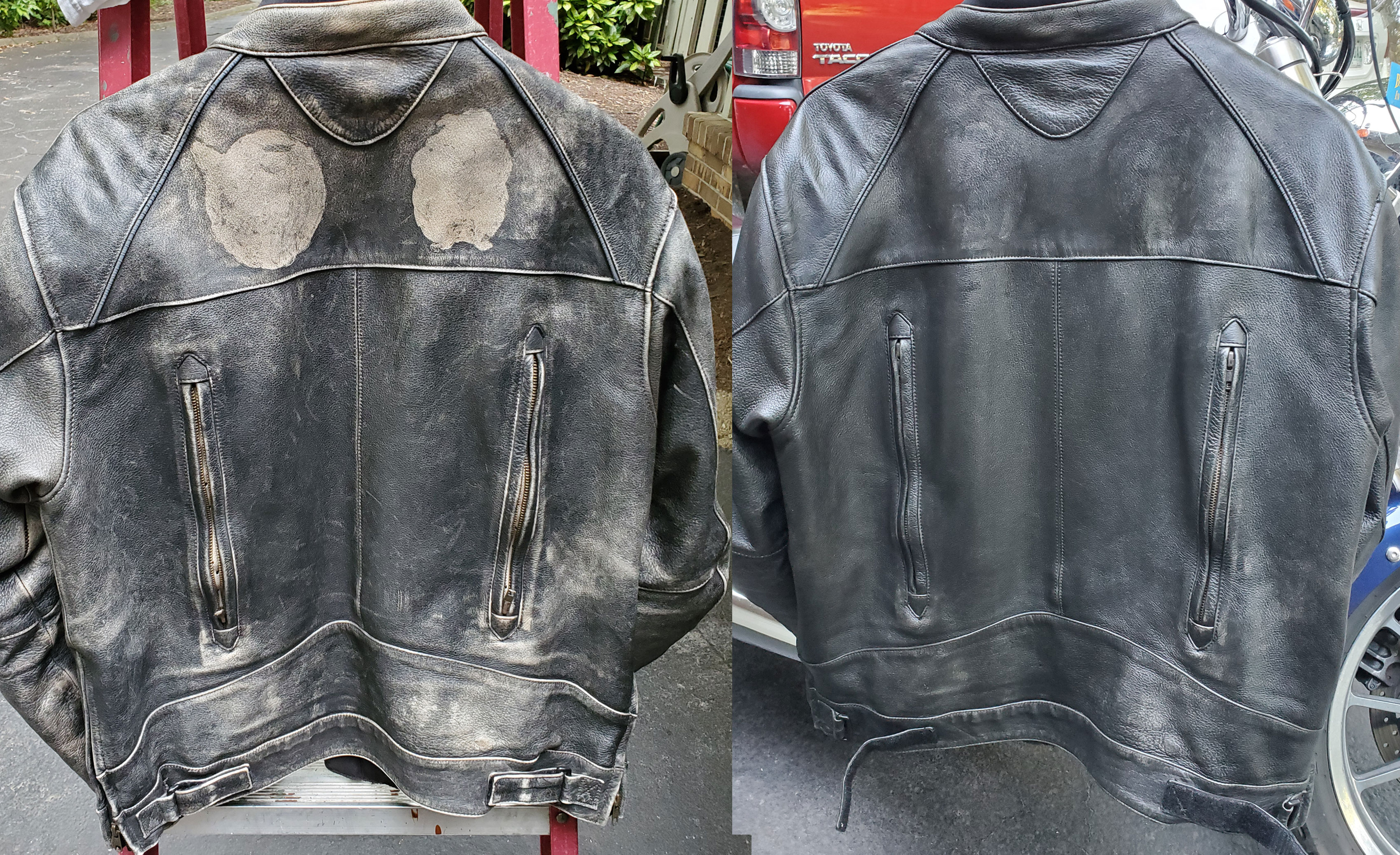 Before and After pictures of the back of Sam's jacket