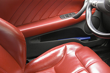 Red leather car seats and upholstery