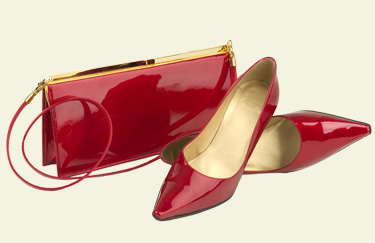Assorted Red patent leather women's shoes and handbag
