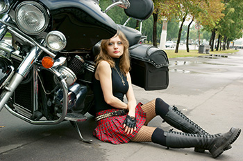 Motorcycle leather seats, bags and clothing