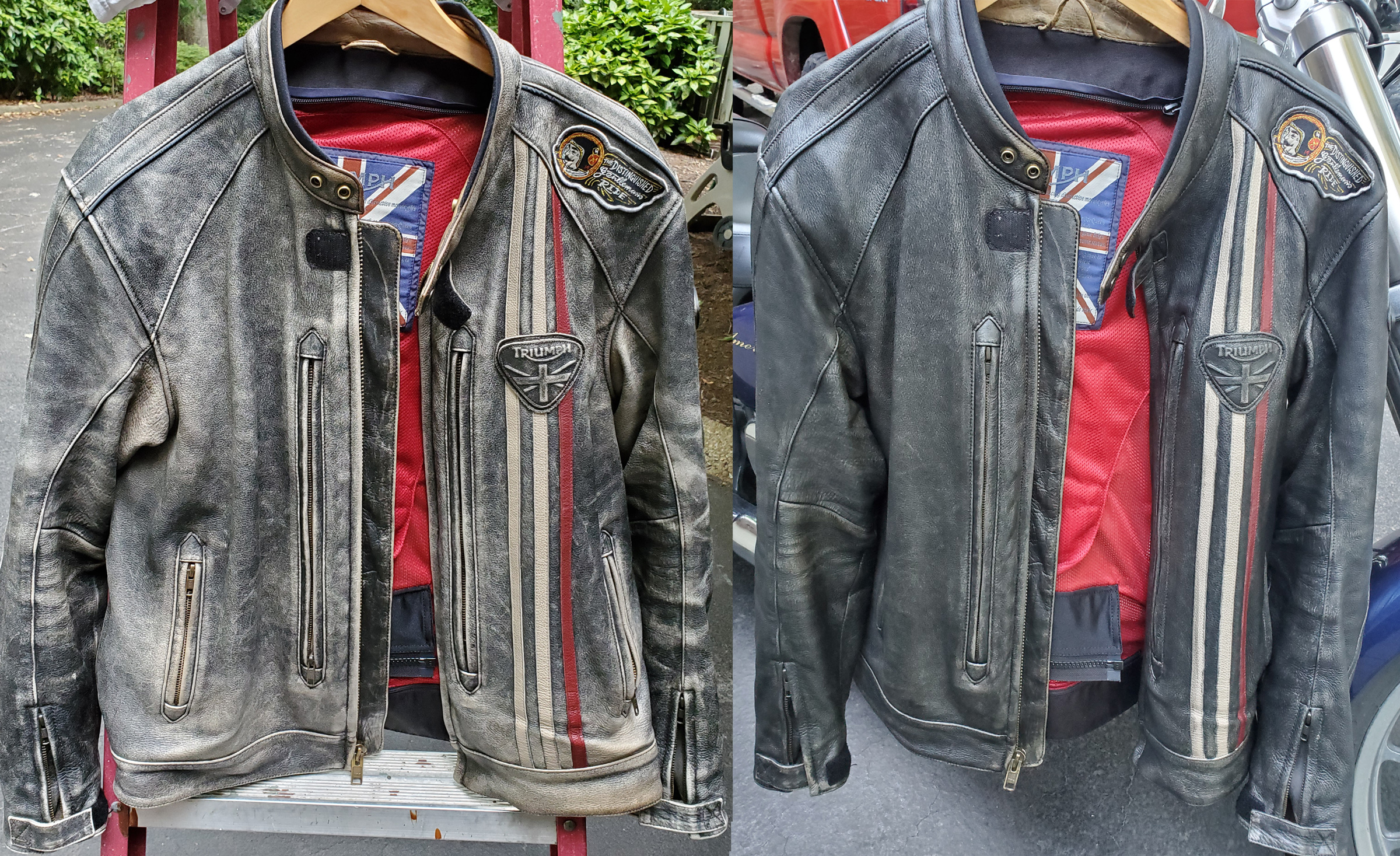 Before and After pictures of the front of Sam's jacket
